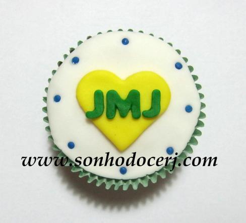 Cupcake Jornada Mundial da Juventude - coração JMJ!! (A)