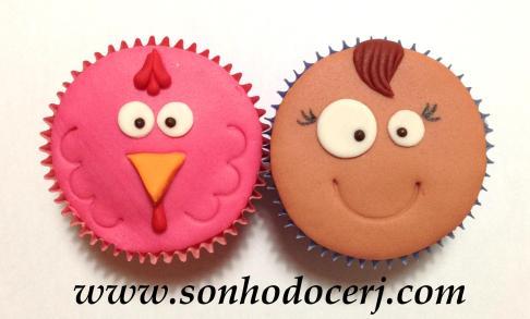 Cupcakes Galinha Pintadinha! Galinha Rosa (D), Baratinha (C)