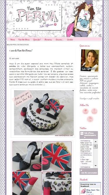 """Bolo feito para o aniversário do blog """"Nem tão perua""""!! www.nemtaoperua.com"""