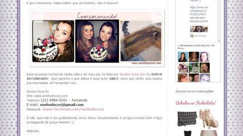 """Bolo feito para o aniversário do blog """"Nem tão perua""""!! www.nemtaoperua.comMuuuuuito obrigada por todos os elogios e pelo carinho!!! :-)"""