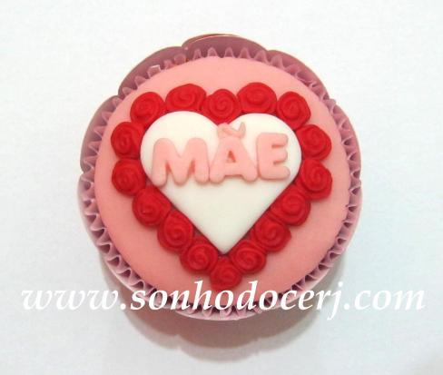 Cupcake Mãe - coração com rosinhas! (C)