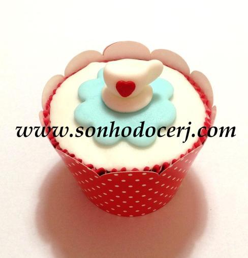 Cupcake Xícara com fundo em flor! (B)