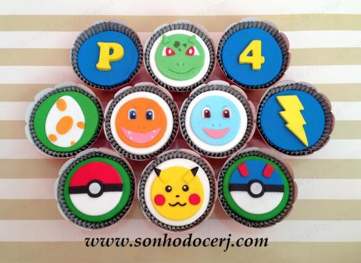 Cupcakes Pokémon! Letra (B), Pokemón verde (F), Número (B), Ovo (C), Pokémon laranja (F), Pokémon azul (F), Raio (B), Pokebola vermelha (D), Pikachu (F), Pokebola azul (D)