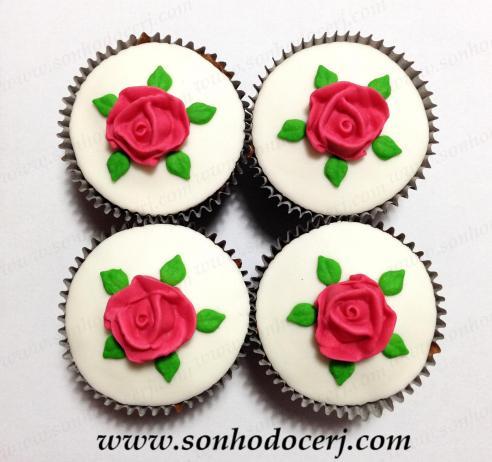 Cupcake! Rosa média com folhas (D)