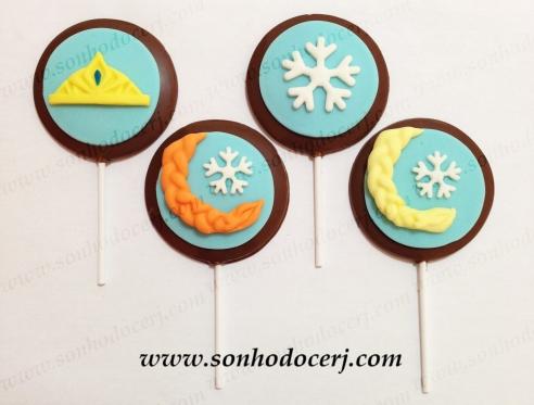 Pirulitos de chocolate Frozen! Coroa (P4), Trancinha (P5), Floco de Neve (P3)