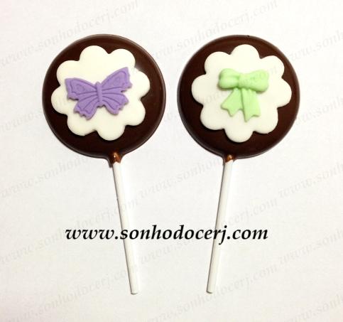 Pirulitos de chocolate! Borboleta com fundo flor (P3), Lacinho com fundo flor (P3)
