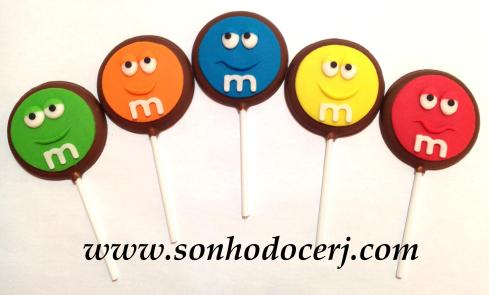 Pirulito de chocolate! Carinha M&M (P6)
