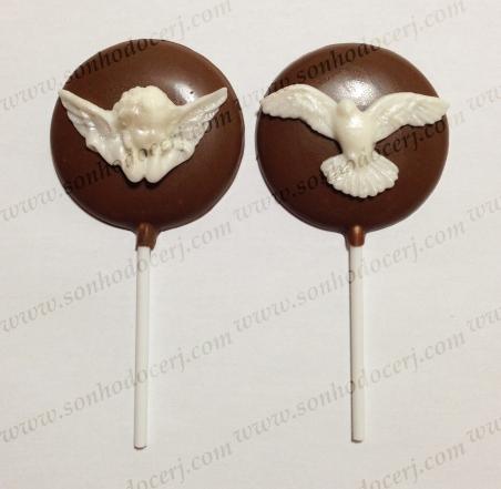 Pirulito de Chocolate! Anjinho barroco perolado (P2) / Pombinha branca perolada (P2)