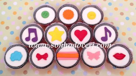 Cupcakes! Botões, Notas Musicais, Estrela, Coração, Nuvem, Lacinho 2, Faixa, Borboleta, Boquinha