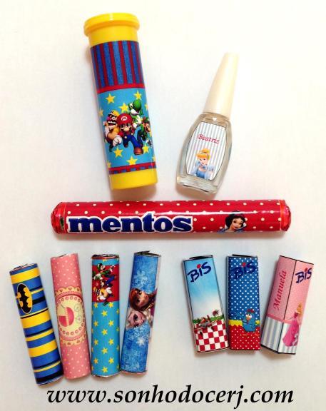 M&M, Esmalte, Mentos, Batom e Bis! Tudo personalizado no tema da sua festa!!