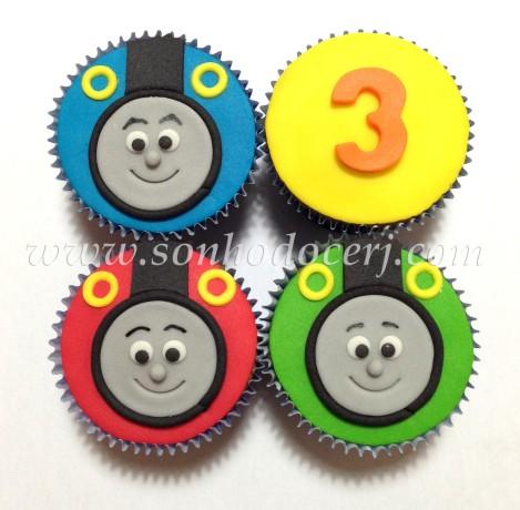 Cupcakes Trenzinho Thomas! Carinha do trenzinho (E), Número (B)