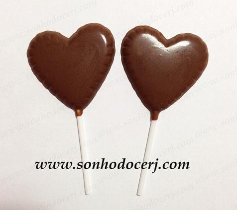 Pirulito de chocolate em formato de coração! (P1)
