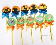 """Pirulitos de chocolate """"Guarda do Leão""""! Silhueta pôr do sol (7,00), Rosto personagem em papel arroz (Kion, Fuli, Bunga, Ono, Beshte) (9,00)"""